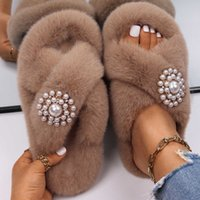 Designer Slides Fluffy Slippers for Home Flat Faux Fur Sandals Platform Flip Flops Pearl Women Outdoor Casual Shoes