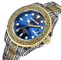 GH132 Ретро стиль классические кварцевые мужские часы Нержавеющая сталь 43 мм Диаметр мужчина часы Золотой час марки календарь Наручные часы