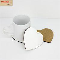 DHL Sublimation Blank Heart Coaster Coaster MDF Holz DIY Customed Cup Pad Slip Isolation Pad Cup Matte Pad Heißgetränk Halter 100 * 100 * 4mm