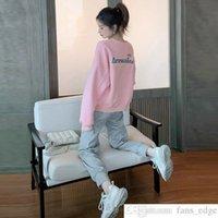 Корейский стиль Свободные Студенческие фигуры Лестные Спортивные Набор Женский Весна и Осень Мода INS Модный свитер Случайный двухсекционный костюм