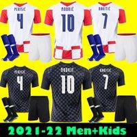 Croatia MODRIC 2021 squadra nazionale MANDZUKIC HOME AWAY Set di maglie da calcio PERISIC RAKITIC KOVACIC 21 22 Maglie da calcio Kit per adulti + bambini