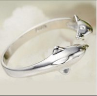 실버 도금 더블 돌고래 디자인 오프닝 조정 가능한 반지 선물 Chic PS0559
