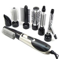 Electric Hair Brushes Top Sale Silver Black EU Plug 7 In 1 Multifunction Professional Negative Ion Dryer With Comb Set Curling Wand St