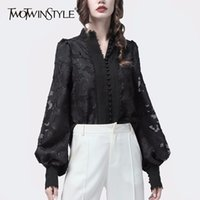 TWOTWINSTYLE Patchwork Lace Women's Shirts Lantern Long Sleeves Stand Collar Korean Shirt Blouse Female Autumn Fashion New 210320