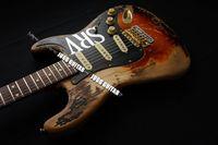 Rare Número One SRV # 1 Reliquia pesada Tabaco Sunburst St Electric Guitar Stevie Ray Vaughan Tribute, Bridge Temolo zurdo, Cuerpo de Alder, Sintonizadores vintage, Hardware de oro