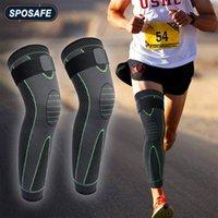 Bras de jambe chauffe-jambes 1Pair Sports Compression Manches avec des bretelles élastiques Extra Long Brace Brace Support pour la douleur au football de basketball