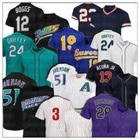 51 Randy Johnson 28 Nolan Arenado 24 Ken Griffey Jr Jersey 12 Wade Boggs 19 Robin Yount 13 Ronald Acuna Jr. Jerseys de beisebol