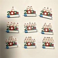 2021 Decoración navideña adornos de cuarentena Familia de 1-9 cabezas DIY Árbol Accesorios colgantes con cuerda A02