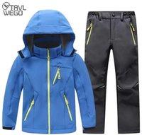 Outdoor Jackets&Hoodies TRVLWEGO Winter Waterproof Suit Camping Windproof Skiing Hiking Pant Soft Shell Jackets Kids Fleece Sport Keep Warm