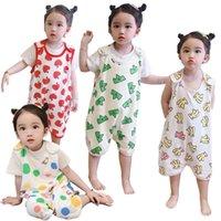 Pajamas Toddler Onesie Baby Girl Sleeveless Cotton Sleepwear Child Boy 1-6T Summer Night Warm Abdomen Homewear Kids Jumpsuits