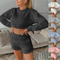 Women's Tracksuits Women Two Piece Trousers Of Pure Color Long Sleeve Winter Plush Sweater Knitting Set Autumn Hooded *8#6