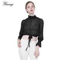 Рубашки женских блузков Yming Spring летняя шифоновая рубашка сексуальный длинный рукав блузка половина высокого воротника пены верхний причинный короткий стиль