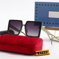 2709 Luxurys 디자이너 스퀘어 선글라스 남자 여성 빈티지 그늘 편광 된 선글라스 남성 태양 안경 금속 판자 아이웨어
