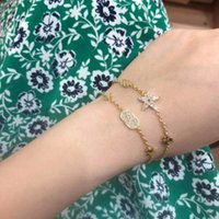 Fashion Gold Letter Love Rings Bague for Lady bangles chains Diamonds Bracelet Jewelry three Colors Top Quality with packaging Suangnis