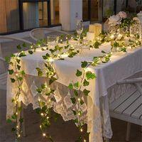 Decorative Flowers & Wreaths 2m 20leds Artificial Leaf Vine Garland Fake Plants Wedding Wall Decoration For Home Room DIY Wreath Silk Flower