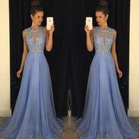 2021 Lavender Prom Dress Lace Applique Bead Bridesmaid Dressess Line Boat Neck Zipper Chiffon Party Dresses