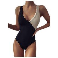Frauen Badebekleidung Weibliche gerippte bather badenanzug schwimmen lady skalloped schwarz beige spleiß hochschnitt einteiler badeanzug frauen