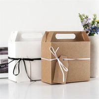 White Brown Kraft Paper Gift Box with Handle Wedding Birthday Christmas Candy  Chocolate Snack Cake Package Bag