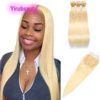 Peruvian Blonde Color 613# Straight 3 Bundles With 4X4 Lace Closure Free Middle Three Part 100% Human Hairs 16-30inch