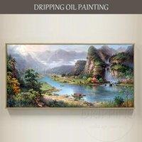Pinturas artista talentoso pintado à mão de alta qualidade China paisagem montanha pintura a óleo impressionista feng shui
