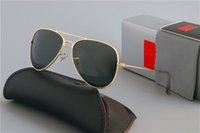Brand Design Design Sunglass Luxury Moda Occhiali da uomo Donne Pilot UV400 Eyewear Classic Driver Sunglasses Telaio in metallo Lente in vetro con scatola scatola