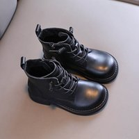 Kids Boots Autumn Winter Girls Cowhide Students Moccasins Soft Leather Childrens Shoes Ankle Boot B7470