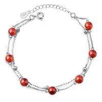 Lien, chaîne exquise double couche femmes 925 sterling argent grenat bracelets bijoux mode cristal pendentifs bracelet femelle