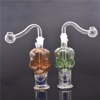 Skull shape mini glass Travel Bongs inline matrix birdcage perc Bubbler bong Small smoking Water Pipes with oil nail pipe and hose
