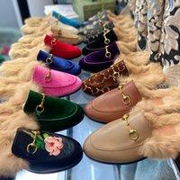 Mulheres Princetown Loafers Outono Inverno Quente Lã Chinelos Clássicos Fivela de Metal Bordado Sandálias Homens de Couro Metade Slides Padrão Slides