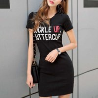 Summer Letter Print Short Sleeve T Shirt Casual Slim Hip Mini Sexy Party Dres's Korean Dresses Clothes Befree P78Z 210603