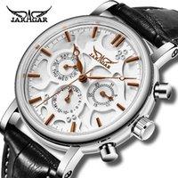 Reloj mecánico para hombres Jaragar cuero correa auto-viento Automático Fecha de la semana Pantalla Deporte Reloj de pulsera Reloj de pulsera Reloj