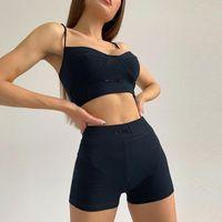 Women's Tracksuits Summer Casual Women Two Piece Set Fitness Gym Tank Top Sportswear Sling Skinny Crop Elastic Waist Shorts Tracksuit 2021