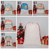 Christmas Gift Bag Large Organic Heavy CanvasBag Santa Sack Drawstring Bags With Reindeers SantaClaus SackBags seashipping