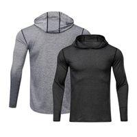 lulu Long Sleeve Fitness Clothes lu yoga T-Shirt Men Training Running Hooded Tee Quick Dry Shirts Casual Loose Elastic Sports lemon lululemon