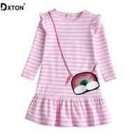 Dxton mädchen kleider 2019 winter langarm kinder kleid für mädchen streifen baby kostüm pailletten mädchen kleid baumwolle kinder kleidung c0223