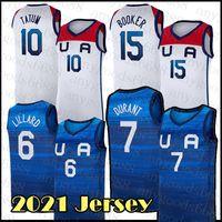 Basketball Jersey Team Amerika 2021 USA Tokyo Sommer Olympiade Dunkelblau Weiß Damian 6 Lilard Kevin 7 Durant Jayson 10 Tatum Devin 15 Bookorer Blau Orange Khaki Gelb