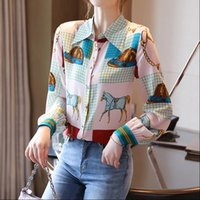 France style Fashion printing Women Blouses Spring summer Long sleeve turn down collar Tops Blusas Mujer