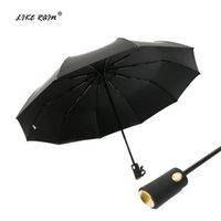 Guarda-chuvas como chuva totalmente automático homens guarda-chuva 10 costelas grandes fortes mulheres à prova de vento parasol marca golf uby34