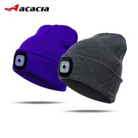 Autumn Winter Soft Comfortable Cycling Knitted Hats Bicycle Led Knit Caps For Men Women Bike Outdoor Sports Headlamp Beanies & Masks