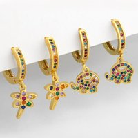 Dangle & Chandelier Cute Elephant Earrings For Women Cubic Zirconia Gold Color Insect Dragonfly Ear Rings Korean Fashion Jewelry Gift Wholes