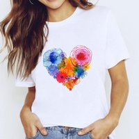 Women's T-Shirt T-shirts Top For Women 90s Watercolor Flower Heart Love Trend Clothing Print Lady Stylish T Shirt Ladies Tee