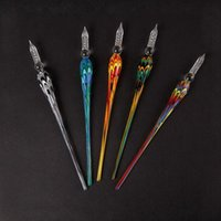 USA Colorful Glass Smoking Portable Pen Shape Tip Straw Nails Bong Handpipe Filter Holder Innovative Oil Rigs Wig Wag Hookah Waterpipe Dabber Spoon Accessories DHL