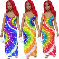 Women plus size maxi casual dresses summer clothing sexy club elegant tie dye sheath column sleeveless backless scoop neck spaghetti strap evening party dress 01394