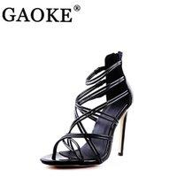 Kadın Ayakkabı Yaz Yüksek Topuklu Sandalet Gelin Düğün Sivri Burun Lady Platformu Çapraz Kravat Elbise