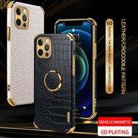 6D-Plattieren Leder-Krokodil-Muster-Mobiltelefon-Schutzkoffer zurück für iPhone 6s 7 8 PLUS X XR XS 11 12 Pro max-Schutztelefon Case angenehm halten Handshake