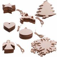 Bolas redondas de madera Etiquetas Bolas de nieve Copo de nieve Bat de Navidad Calcetines de árboles Muñeco de nieve Forma Decoraciones Arte Adornos artesanales DIY Decoraciones de Navidad Nuok