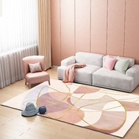Carpets Stripe Geometric Pink For Living Room Nordic Home Decoration Modern Bedroom Chair Cushion Non Slip Foot Mats Floor Rug