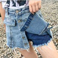 Pantalones cortos de falda mujeres denim moda corta ropa de verano faldas de cintura alta jeans botón femenino s-xxl pantalones jean mujeres