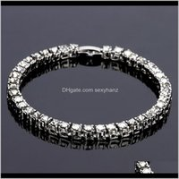 Jewelryfashion Iced Out Fhinestone Hip Hop Tennis Bracelet Jewelry Rock Style Sier Gold Miami Cuban Link Chain Bracelets For Men Drop Delive
