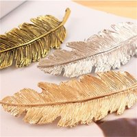 Retro ragazza Capelli Accessori Accessori Placca in lega Argento Placcato Gold Colore Gold Feather Foglia Forma Fashion HairClip Peli da donna Barrettes 1 35kx l2
